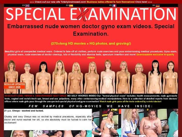 Special Examination Account Information